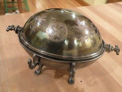 Antique Butter Silverplate Domed Flip Lid Oval Dish with Original Ice Plate
