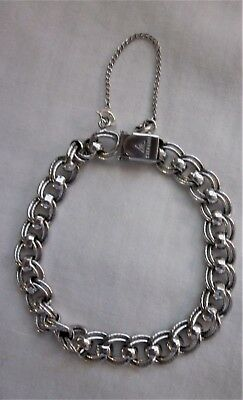 """Sterling Silver 7"""" Double Link Chain Charm Bracelet 18 g.- signed J.B."""