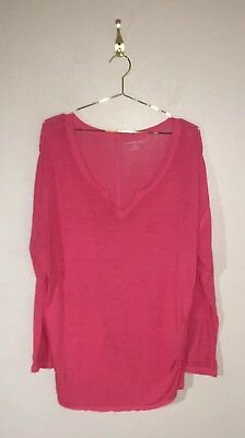 Lane Bryant Womens Plus Size 18/20 Pink Raw Hem 3/4 Sleeve Knit Top A15