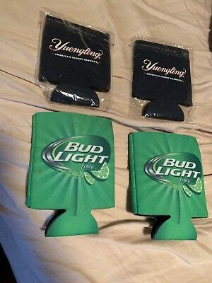 Four Brand New Beer Koozies - 2 Yuengling & 2 Bud Light Lime