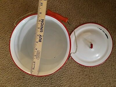 Vintage Chamber Pot -Bucket White Enamel with Red Trim + Bail Wire Wood Handle
