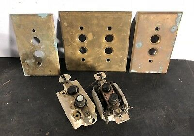 Lot antique push button switches plus a double and 2 single cover plates