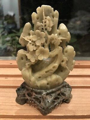 Carved Soapstone Asian Figurine Floral