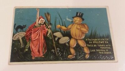 Circa 1909 Embossed Halloween Postcard Witch And Pumpkin Man