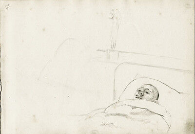 YOUNG MAN IN HOSPITAL'S BED drawing by Russian artist S.Pichugin