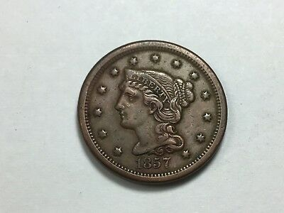 1857 Braided Hair Large Cent, N-2, Small Date