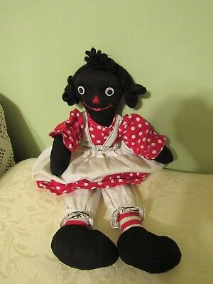 Vintage Cute Black Americana Doll with Polka Dot Dress, 13 Inches