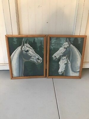 1950s 1960s Vintage Pair of Horse Paint by Number Painting Paintings