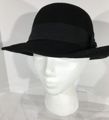 bc1120316 BOLLMAN 100% WOOL Felt WPL 5923 Ladies Black Bowler Hat Derby Made In The  USA