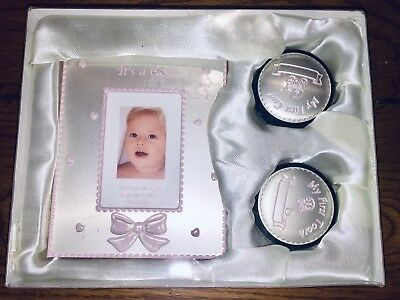 Its A Girl Baby Shower Gift Picture Frame Tooth And Curl Box New In Box