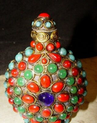 Estate Vintage Signed Asian Chinese Brass Faux Jewel Stone Beaded Snuff Bottle