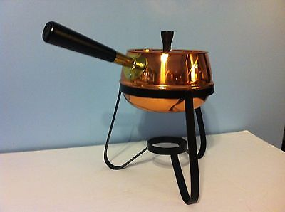 Coppercraft Guild Vintage Cookware Copper Brass Fondue Pot on Black Steel Stand