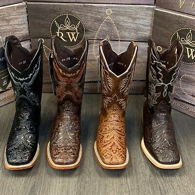 Men's Rodeo Cowboy Boots Hand Tooled Leather Western Square Toe Brown Botas