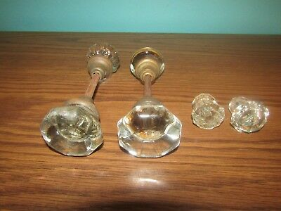 Vintage Lot Glass Door Knobs With Brass Lot Of 6 Knobs