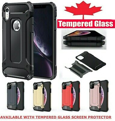 For iPhone XR X XS 11 Pro Max Shockproof Hybrid Heavy Duty Case Tempered Glass