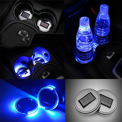 2PC LED Light Cover Solar Cup Pad Interior Decoration Lights Car Accessories