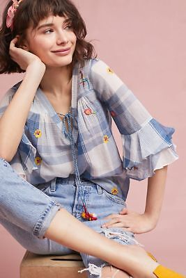 056a5e223a1d NWT Anthropologie PAULETTE PEASANT EMBROIDERED BLUE BLOUSE Size M by AKEMI  & KIN
