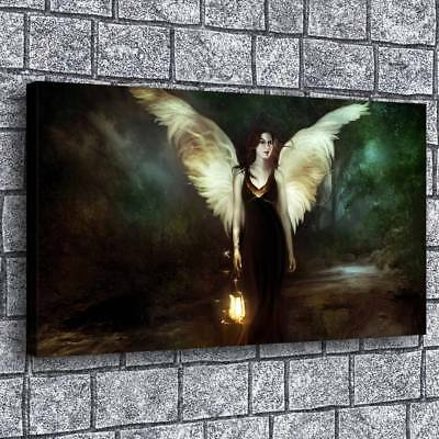 """Girl Wings Lantern 16""""x28"""" Home Decor Picture HD Canvas prints Wall art Painting"""