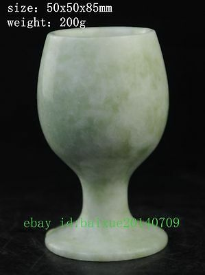 PURE NATURAL CHINESE JADE SKILLFULLY CARVING WINE CUP a01