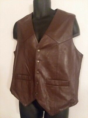 Scully Chocolate Brown Leather Vest 3-Pockets 5-Buttons Size M  VIntage
