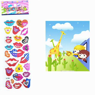 2017 Cartoon Cute Mouth Removable Bubble Crafts Stickers Kids Christmas A1s