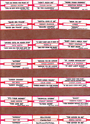 JUKEBOX TITLE STRIPS  50+  LOT # 175  MIXED GENRE MOSTLY 80's THRU 90's