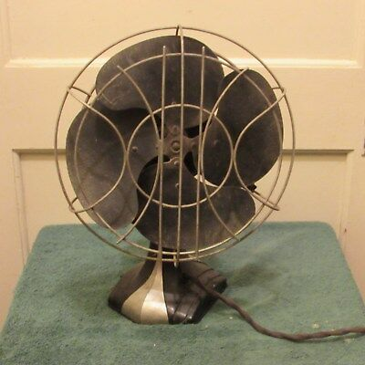 Vintage Wagner Electric Corporation Art Deco oscillating fan as is
