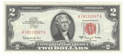 1963A United States $2 NOte, A-A Block, Crisp, Choice Uncirculated, Ungraded