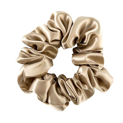 100% Pure Silk Charmeuse Scrunchie Soft Champagne Silk Hair Scrunchies for Women