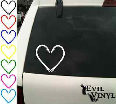 Fishing Hook Heart Decal Car Window Hunting Deer Outdoors Sticker Vinyl ANY SIZE