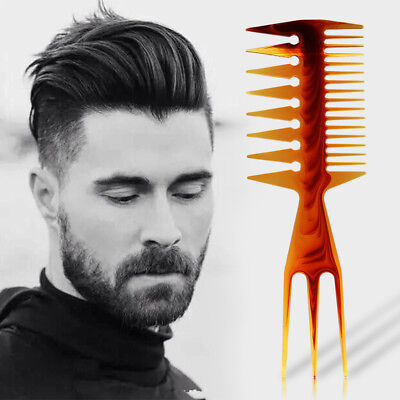 Mens 3 Way Large Tooth Detangle Comb Wide Teeth Pick Hair Comb Hair Styling Comb