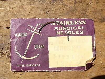 Rare Vintage Anchor Brand Usa - Stainless Surgical Needle Pack With 1 Needle Wow