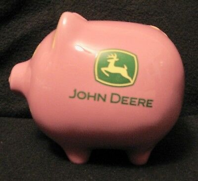 JOHN DEERE LICENSED PIGGY BANK Pink Ceramic with Stopper M Cornell Importers