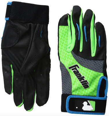 Franklin Youth / S 2nd Skinz Batting Gloves Pair, Black/Lime/Green Small New