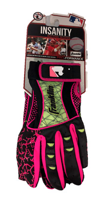 Franklin Youth Large Insanity Batting Gloves Black/Pink/Green MLB Hardy, Votto