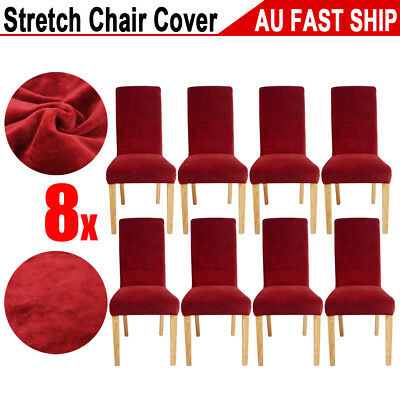 8pcs Super Fit Dining Chair Covers Stretch Cover Protector Slipcover Washable AU