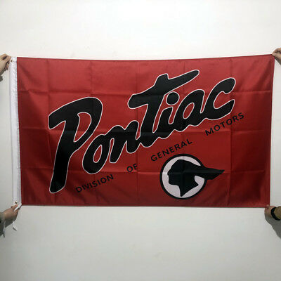 Red Pontiac Flag3X5FT FOR GM Pontiac Car Banner Flags Wall Decor 2Grommets/189