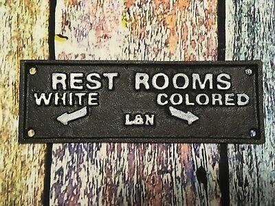 "VTG History L&N Railroads ""Rest Rooms White Colored"" Segregation Cast Iron Sign"