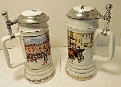 2 Miller Beer Holiday Christmas Steins Limited Edis  Pewter Lid Lidded Milwaukee