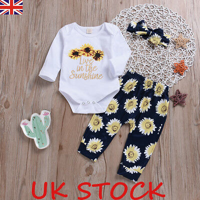 Newborn Kids Baby Girls Floral Sunflower Romper Pants Spring Outfit Clothes Set