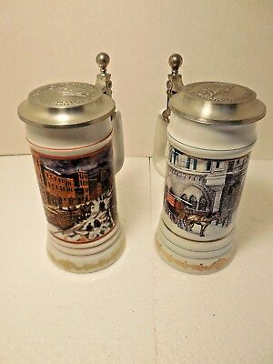 TWO 2 Miller Beer Holiday Christmas Steins Limited Pewter Lid Lidded Milwaukee