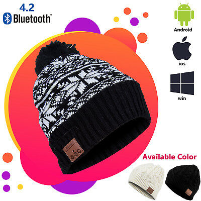 Bluetooth 4.2 Warm Beanie Hat Wireless Music Smart Soft Cap Headset Headphone