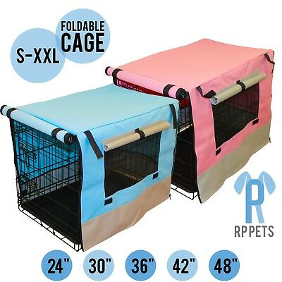 "24"" 30"" 36"" 42"" 48"" Dog Pet Cage Wire Kennel Crate Collapsible Tray/Doors Metal"