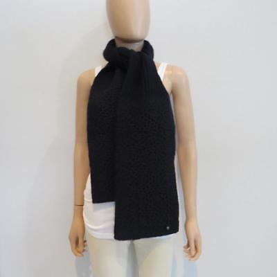 NWT Chanel Navy Cashmere Ribbed/ Crocheted Knit Scarf/Wrap, Ret. $1200