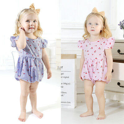 Pretty Infant Baby Girl Fly Sleeve Striped Cherry Bodysuit Romper Outfit Clothes