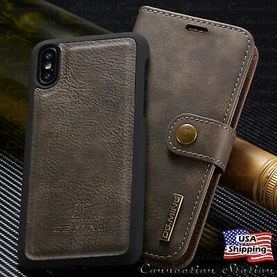 For iPhone XS MAX XR X Removable Leather Wallet Magnetic Flip Cover Card Case