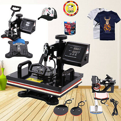 5 in 1 Digital Heat Press Machine Swing-away Sublimation T-shirt Hat Cup 12x15