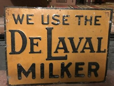 DeLaval Milk Antique Old Embossed Painted Dairy Farm Sign