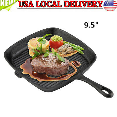 "9.5"" Steak Frying Pan Square Cast Iron Skillet Pan Oven Kitchen Cookware"