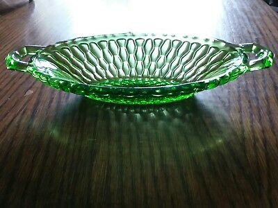 Vintage Green Depression Glass Candy/Serving Dish With Handles